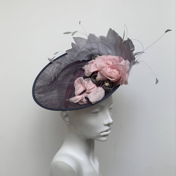 Lilliana Special Occasion Grey  Crinoline Saucer Disc Hat