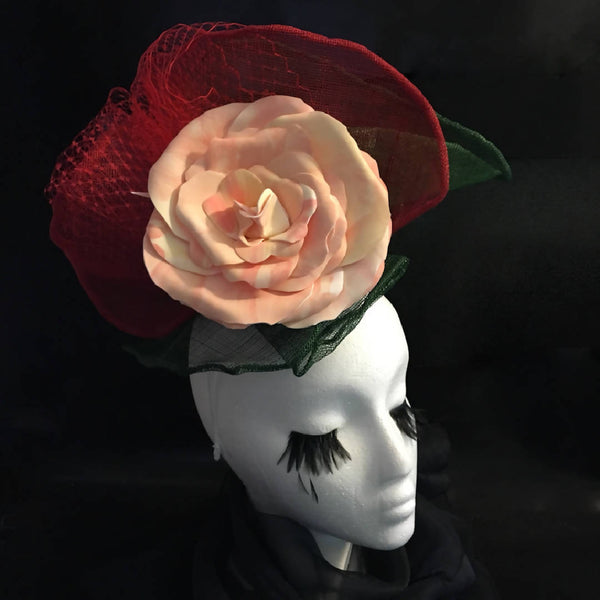 "RED + GREEN FASCINATOR WITH LARGE ROSE, Race day hat, Ascot, Easter, Wedding guest ""In Bloom"""