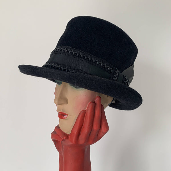 Vintage black felt top hat with feather by Stephen Jones made in England