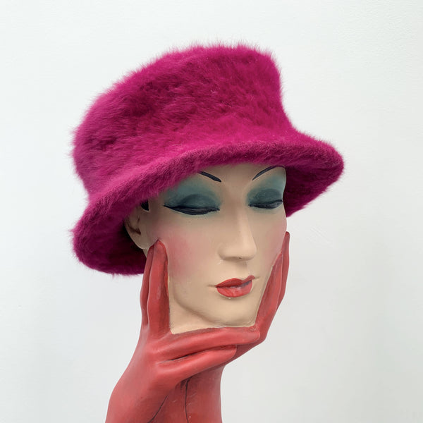 Vintage dark pink fur top hat by Philip Treacy made in London