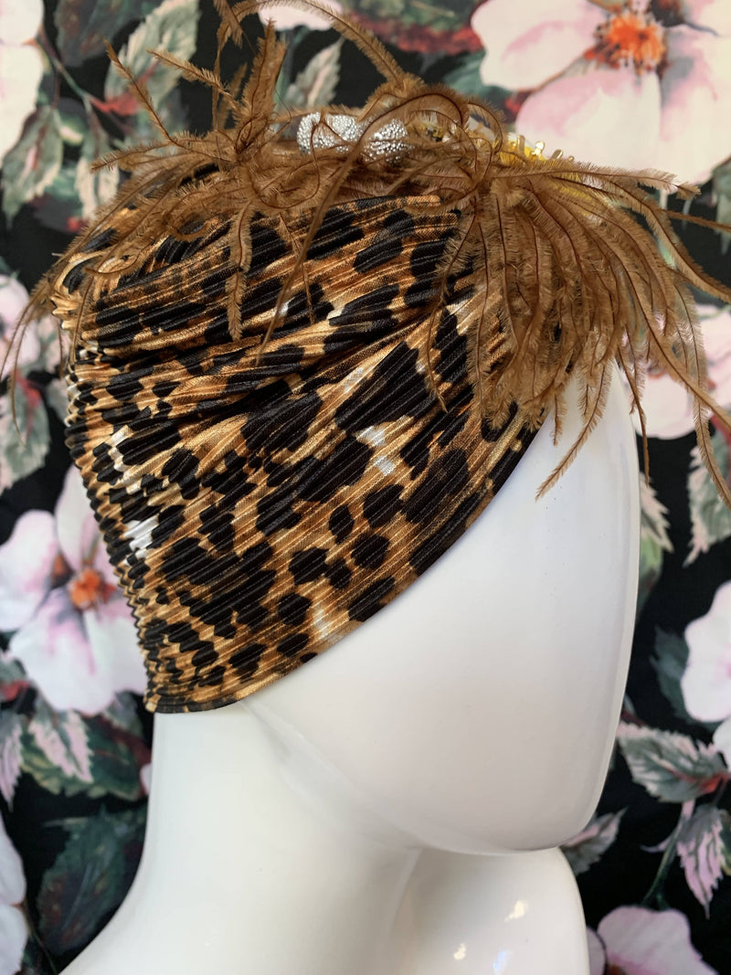 LIZA embellished stretch leopard print Turban by miss haidee millinery