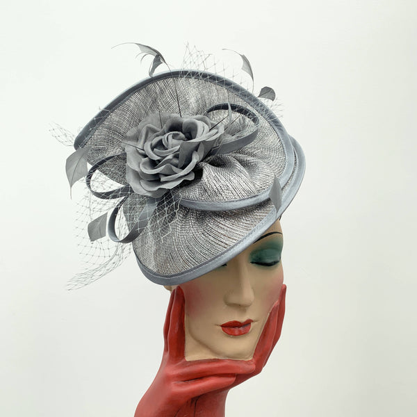 Vintage grey cocktail hat with decorative flower by Stephen Jones