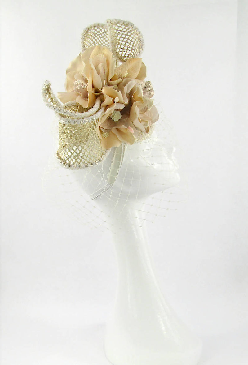 Peach and Ivory Open Straw Bow and Flower Headdress