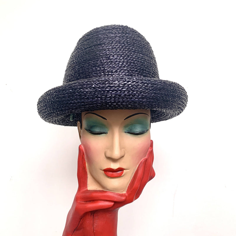 Vintage Park Navy Chic YSL Yves Saint Laurent 1960's Domed straw oversized hat