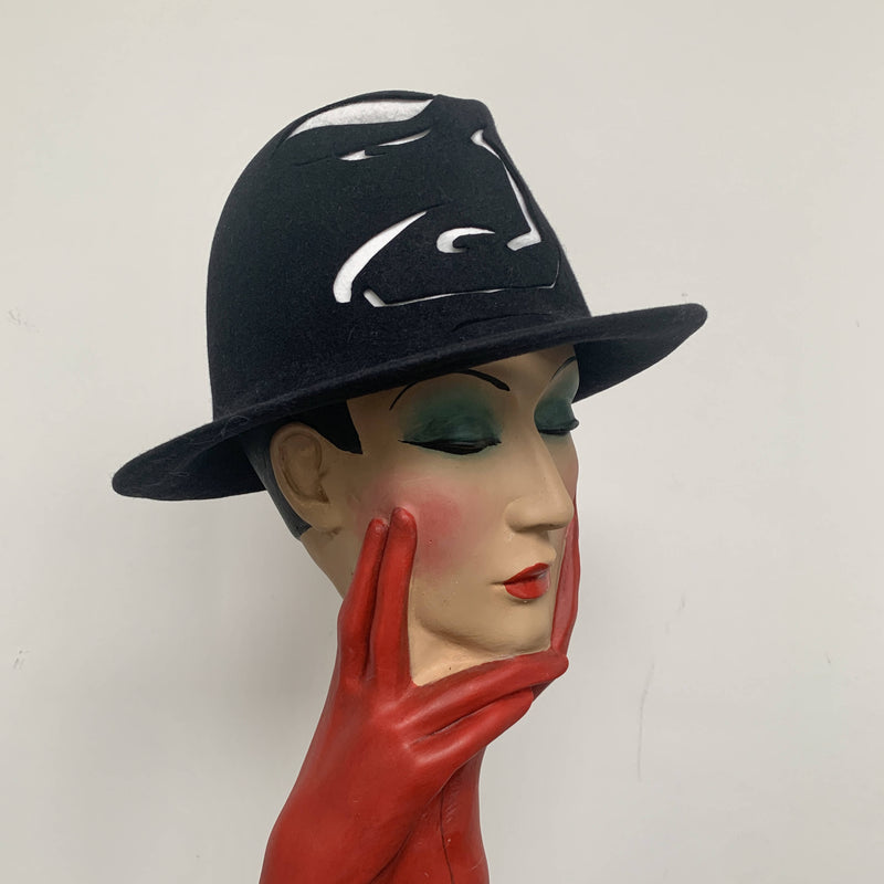 "Vintage limited edition Stephen Jones Black Trilby hat ""Watson"" design"