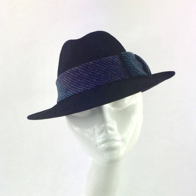 Velour Trilby Hat in Navy Blue