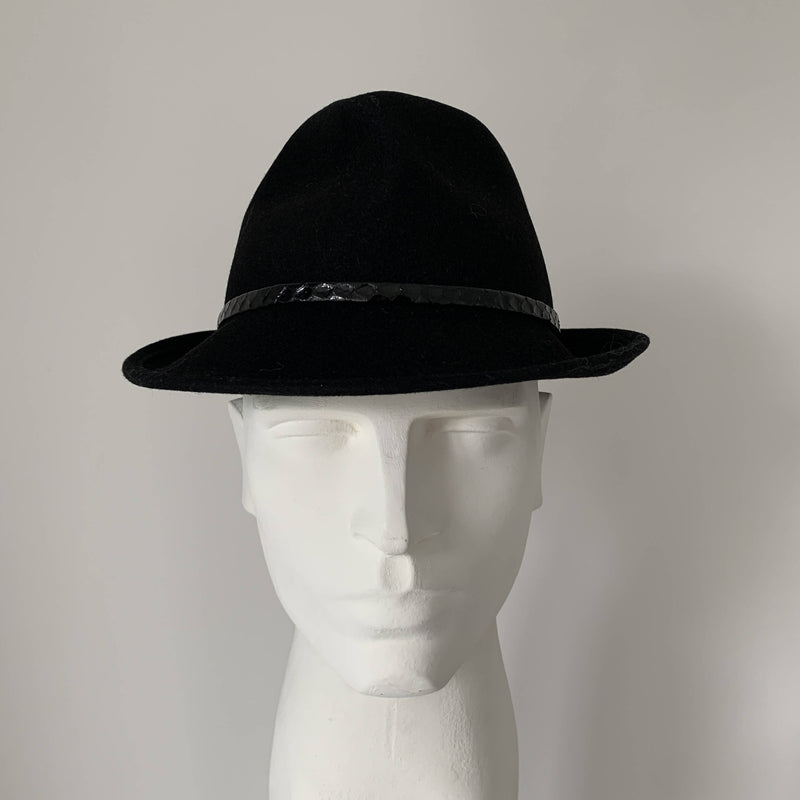 Vintage black felt trilby by Stephen Jones, Jones boy made in England