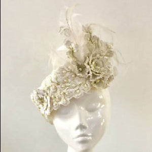 Ivory and Gold Pillbox Hat