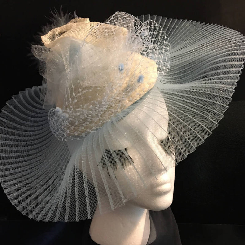 "Pale Blue hat-like Fascinator with elegant pleated brim: Easter, Wedding, Raceday, Ascot ""CRYSTAL BLUE ENCHANTMENT"""