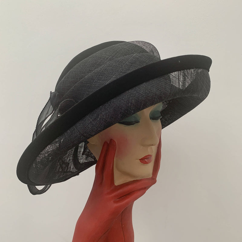 Vintage Black brim hat with laces by Peter Bettley