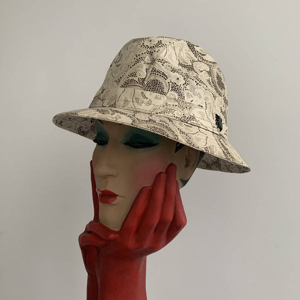 Brand new limited edition Philip Treacy London laser cut leather lace trilby cloche hat