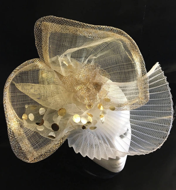 "Gold + White elegant, flattering fascinator. Mother of the bride, wedding, Easter, Royal Ascot, Race Hat, Winner's Circle ""GLORIA"""