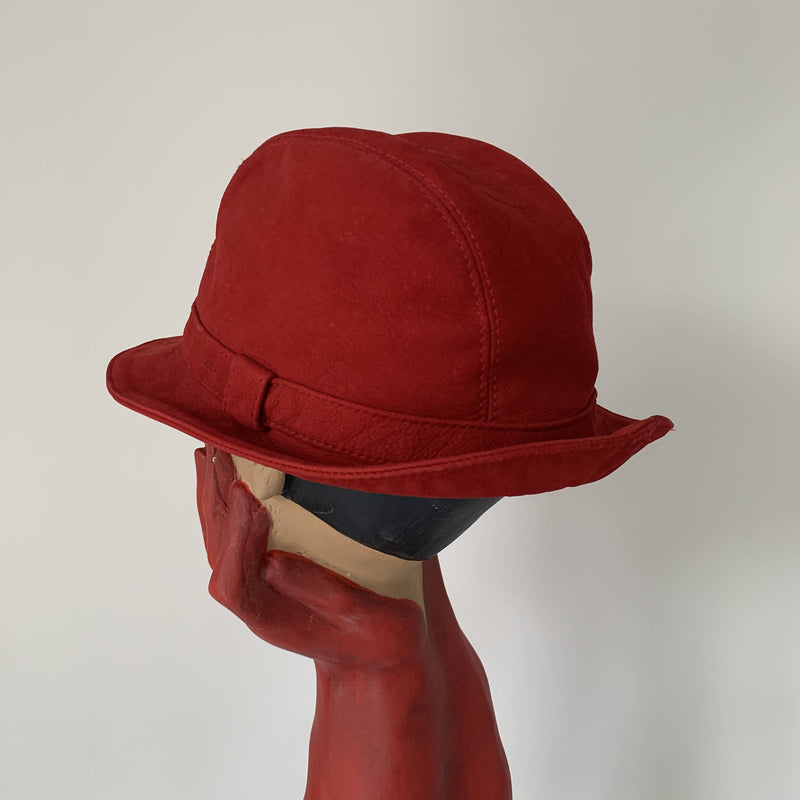 Vintage Pravda suede leather trilby hat made in Italy