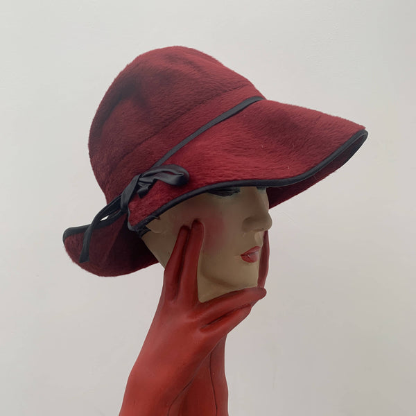 Vintage red velvet fur decorated cloche hat with leather trim edge