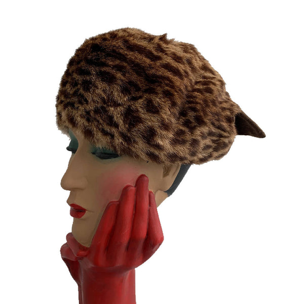 Glamorous vintage rabbit fur polka dot hat with a bow lined