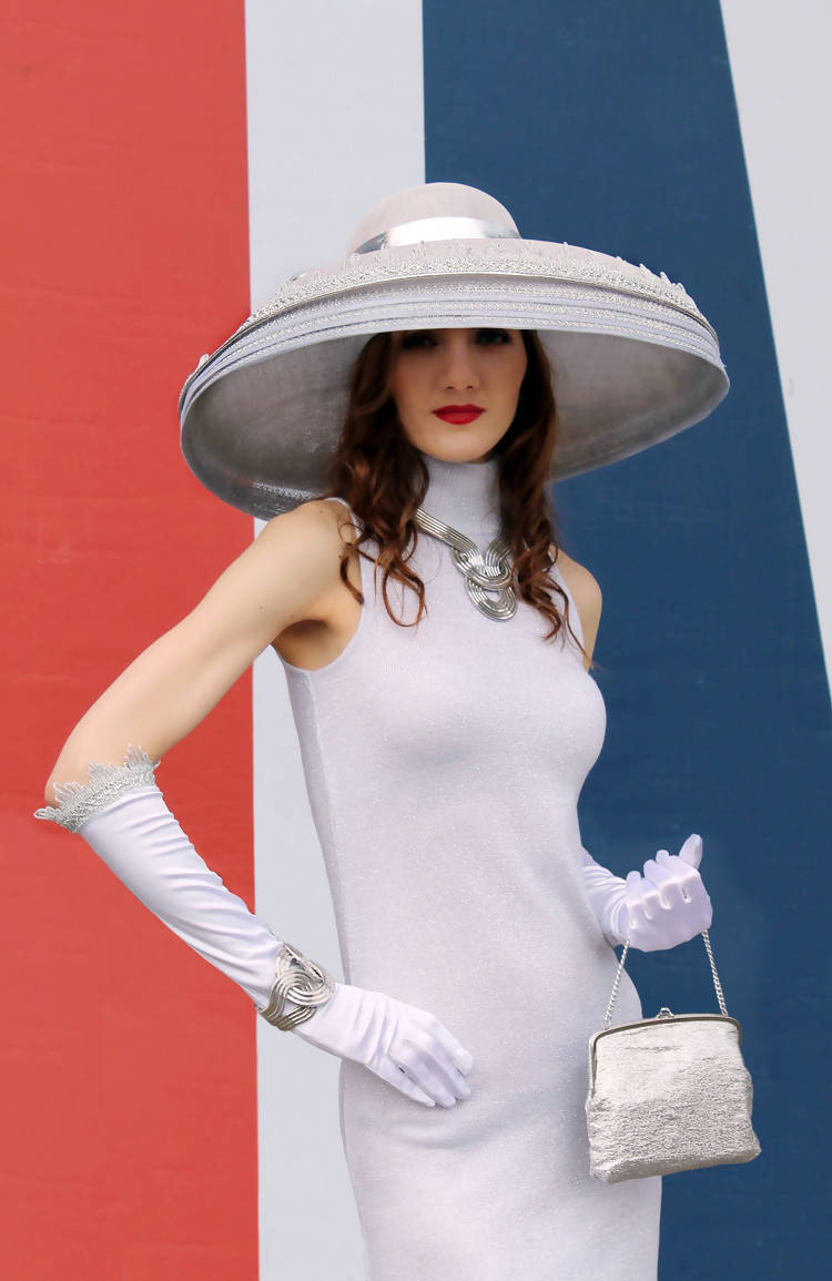Space Diamonds White  Special Occasion  Sinamay  Picture Wide Brim Hat
