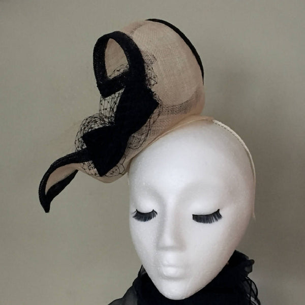 "natural/wheat + black curvy fascinator with bows, veiling. Race day hat, Mother of the bride, Easter, Ascot, Derby. ""Mary"""