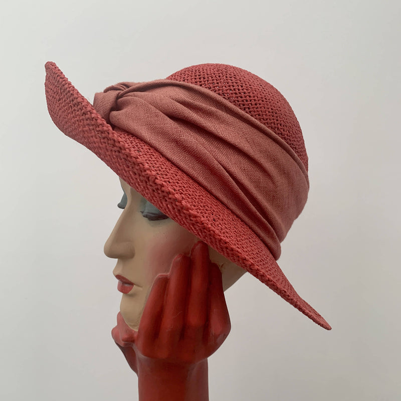 Vintage Red straw hat with silk trimming by First Avenue