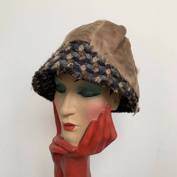Vintage design new brown cloche hat by Dolce & Gabanna made in Italy