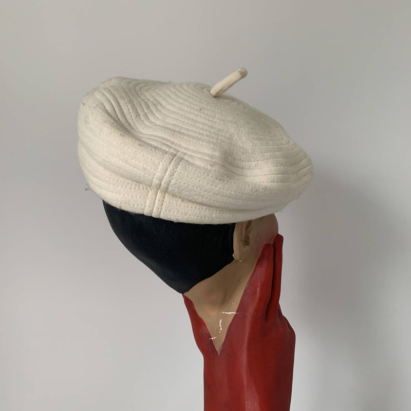"Vintage white beret by Stephen Jones MIss Jones "" Time travel"" collection"