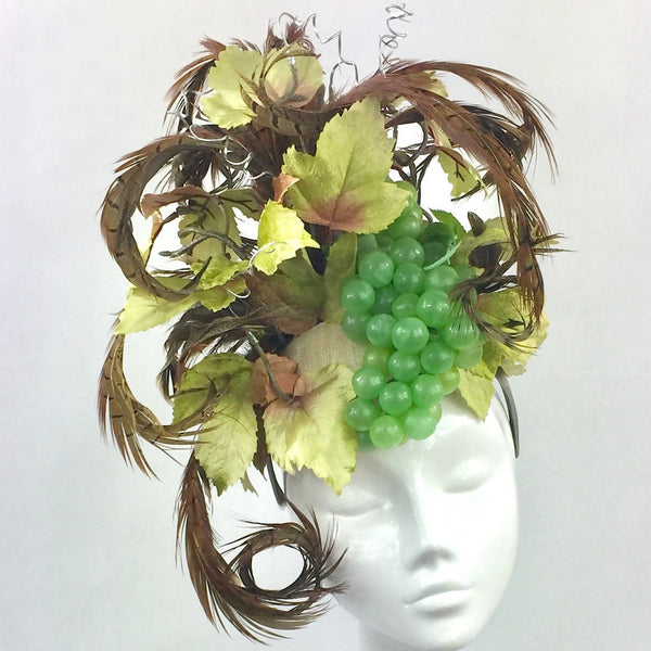 Pheasant Feather, Grape and Leaf Headdress
