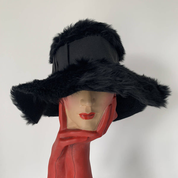 classic Vintage Christian DIor black wool fur couture hat