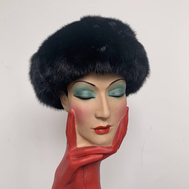 Vintage Christian Dior Mink Fur Hat in Black