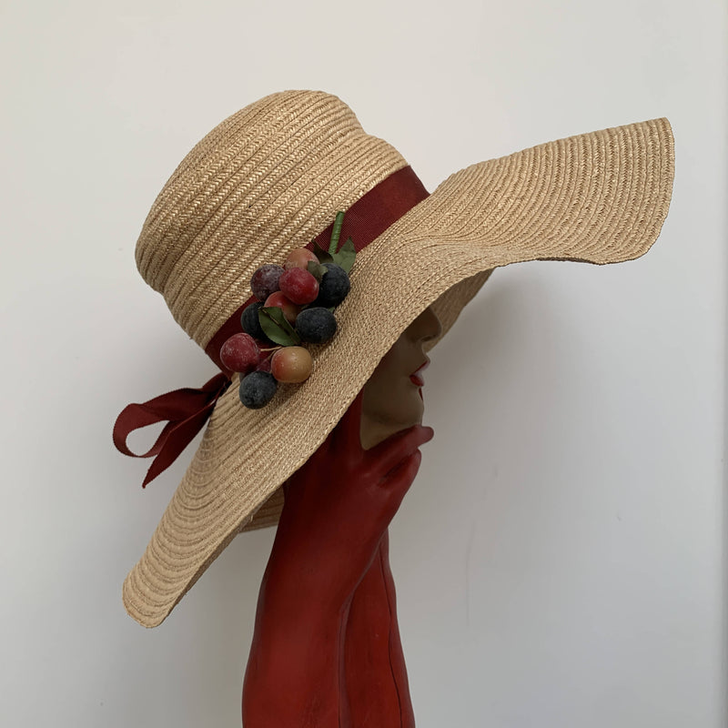 Vintage oversized large brim straw hat with fruits