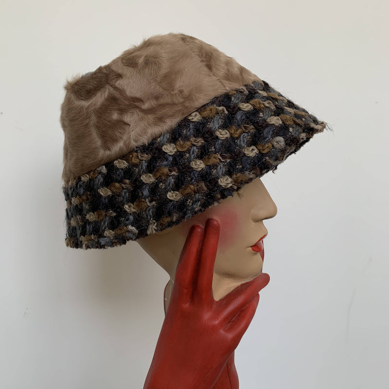 Vintage design new brown fur cloche hat by Dolce & Gabanna made in Italy