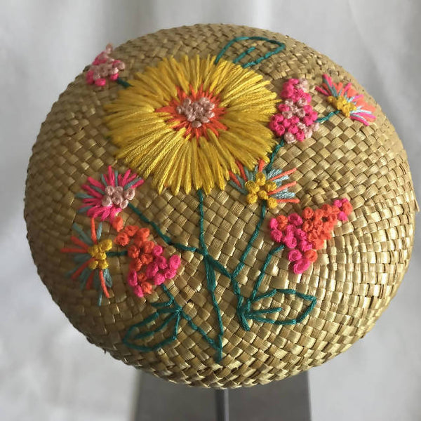 Yellow Straw Button by LauraJane Millinery