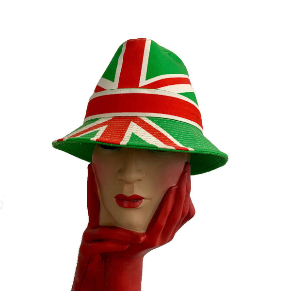 New Philip Treacy London cotton Italian Union Jack green flag print trilby hat