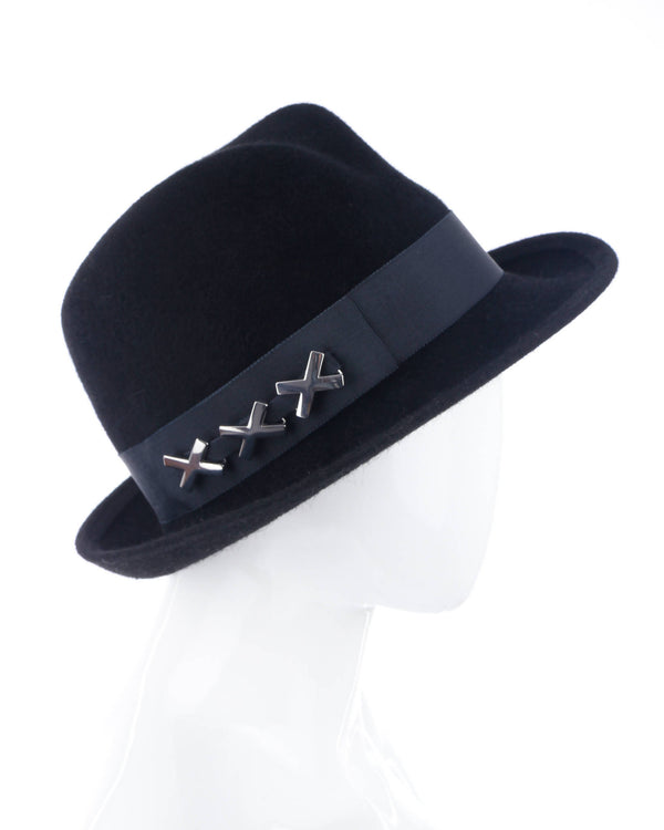 Fur Felt Asymmetric Fedora with Silver XXX Embellishment