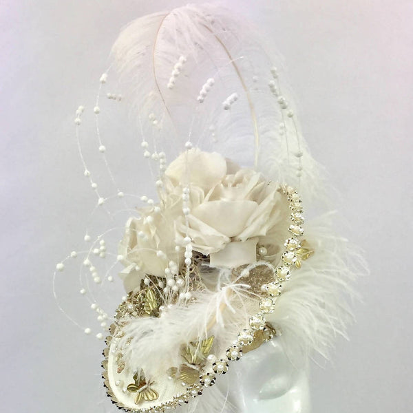 Cream Floral & Feather Hat with Gold Butterflies & Pearls