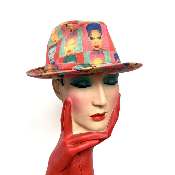 Vintage limited edition Philip Treacy Andy Warhol collection Grace Jones pop art print trilby hat