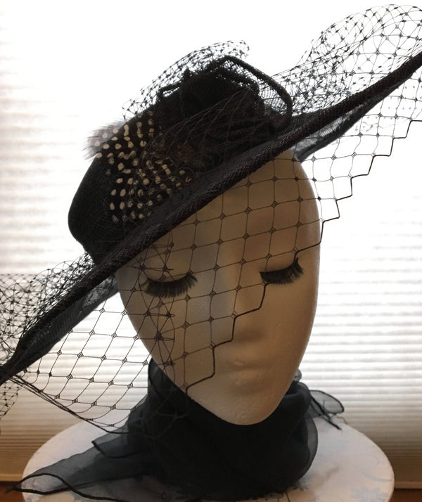 "Classic black hat-like fascinator, with scalloped brim and all around veiling. Hatinator: formal occasion or race day, Ascot or luncheon ""JUNE"""
