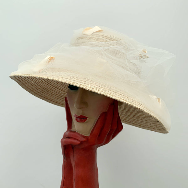 Vintage ladies straw hat with decorative lace by Fred Bare headwear made in England