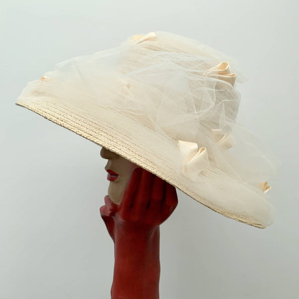 Vintage ladies beige straw hat with decorative lace by Fred Bare headwear made in England