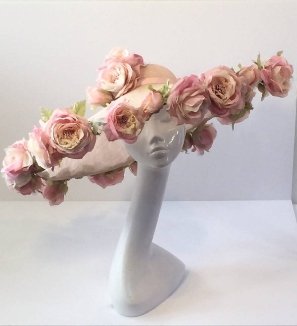 Blush Pink Sinamay Wide Brimmed Rose Picture Hat