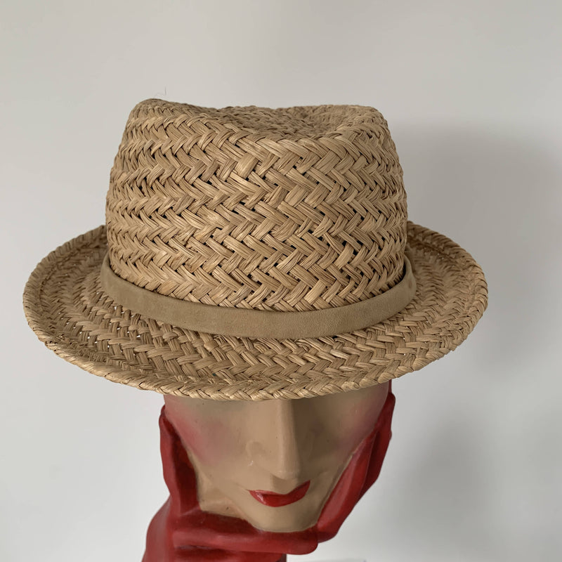 Vintage chic straw boater hat by Stephen Jones made in England