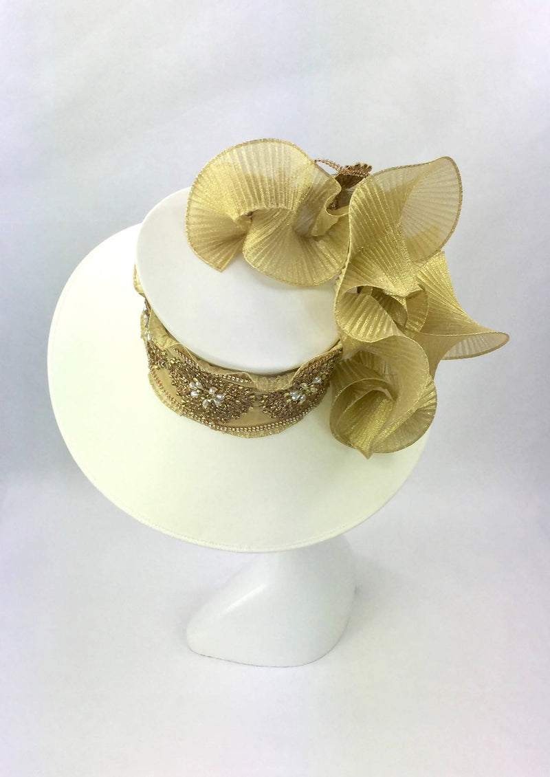 Large Ivory and Gold Down Brim Hat