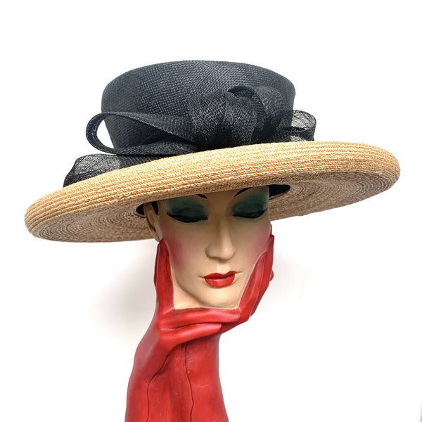 Beautiful Vintage Philip Treacy wide brim black and cream Fedora straw hat