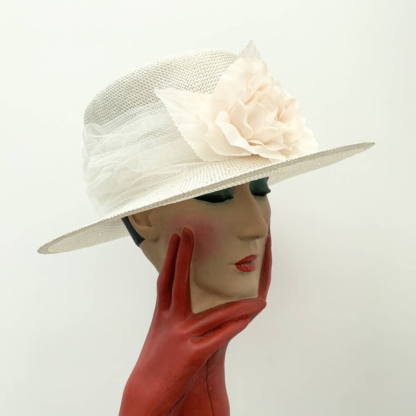 Vintage beige straw boater hat with decorate flower by Selfridges & Co made in Italy