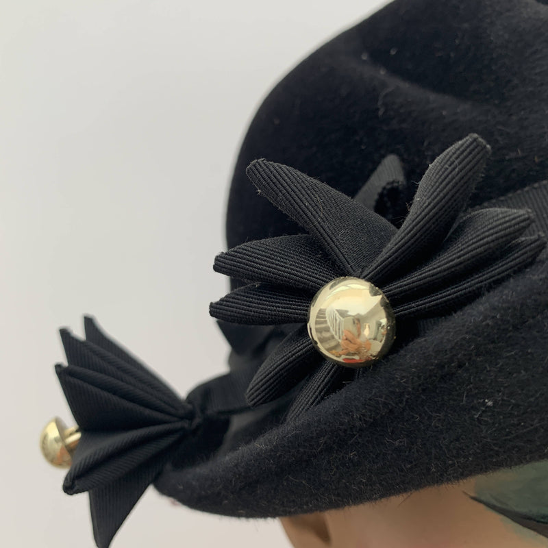Vintage black and gold cloche hat by Bermona