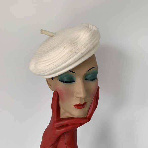 "classic Vintage white beret hat by Stephen Jones MIss Jones "" Time travel"" collection"
