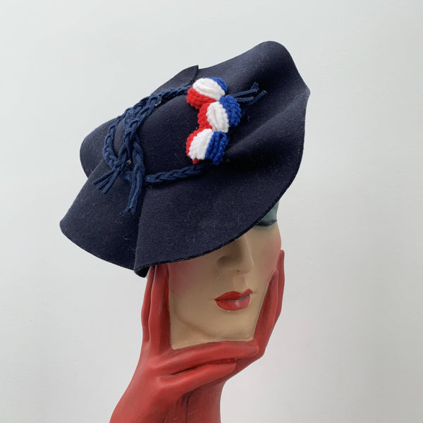 Vintage navy blue sailor hat by Dragonfly