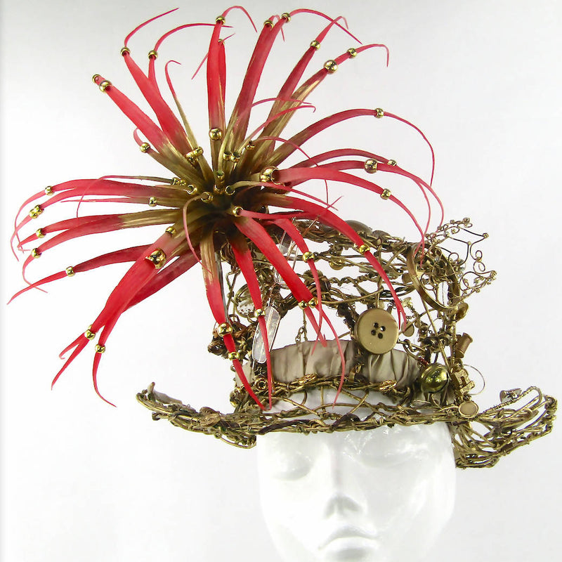 Gold Wired Top Hat With Exotic Flower