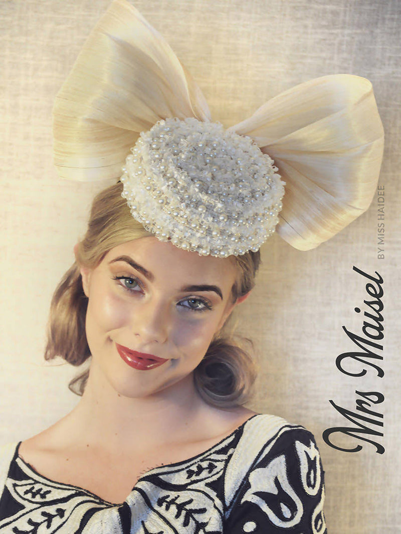 Mrs Maisel pearl and silk beaded cocktail hat by miss haidee millinery