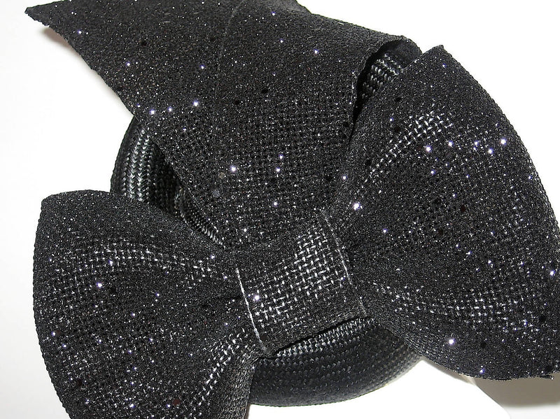 Black Parisisal Pillbox Hat with Bow and Tails