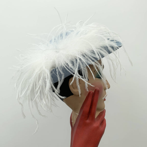 Vintage blue straw cocktail hat by Bermona Trend made in London
