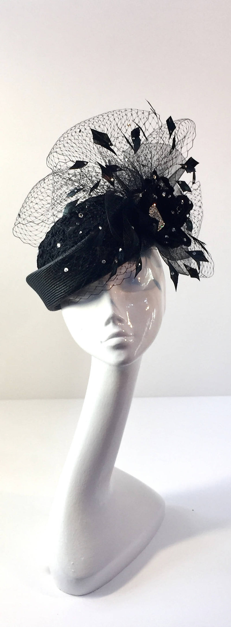 Black Parisisal Pillbox Hat with Diamanté Veiling